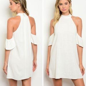 White Open Shoulder Zip back Cotton & Linen Mini!